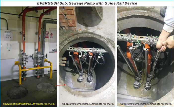 Evergush Submersible sewage pump with guide rail device