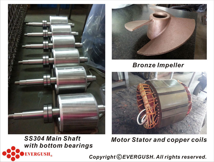 Motor stator and copper coils with bottom bearings